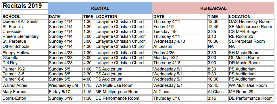 2017 Recital Schedule for IMC Music Lessons for Children